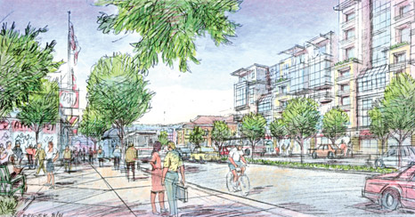 Rendering of a redesigned Geneva Avenue looking Southeast (towards Upper Yard development).