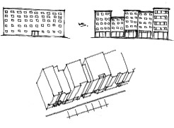 diagram of buildings broken into different masses.
