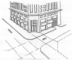 diagram of corner building with entrance diagonal to sidewalks.