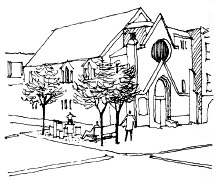 drawing ofchurch at street corner.